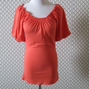 Marciano Pop Sleeve Orange Top Blouse Size Medium